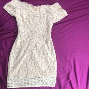 white lace floral pattern dress